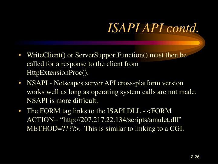 ISAPI API contd.