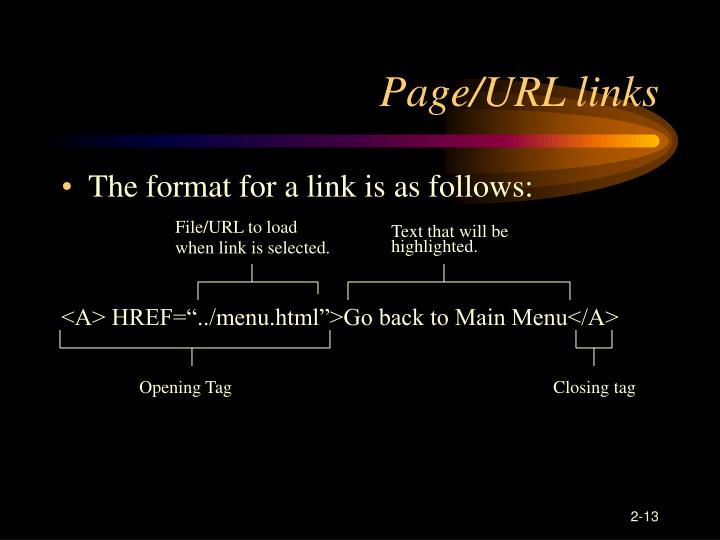 Page/URL links