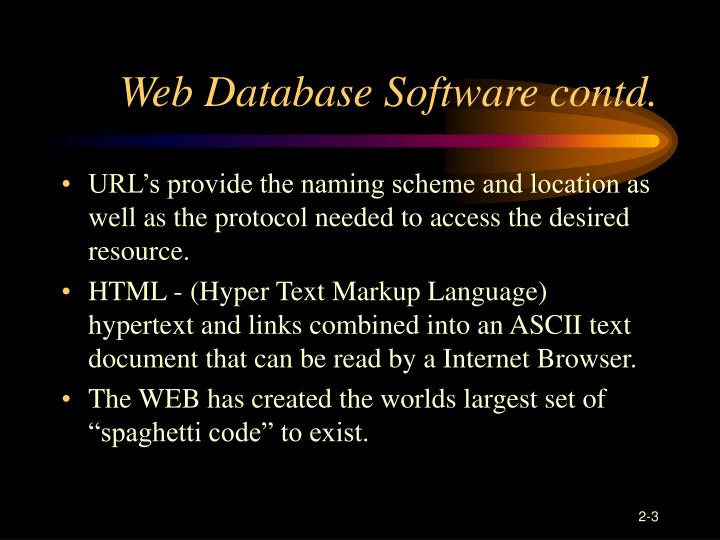 Web database software contd
