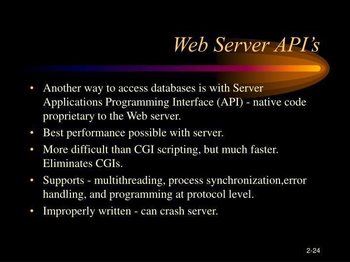 Web Server API's