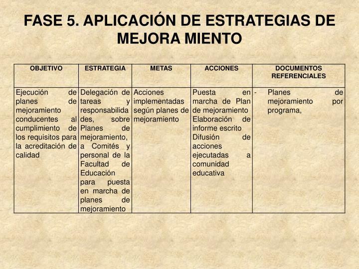 FASE 5. APLICACIÓN DE ESTRATEGIAS DE MEJORA MIENTO