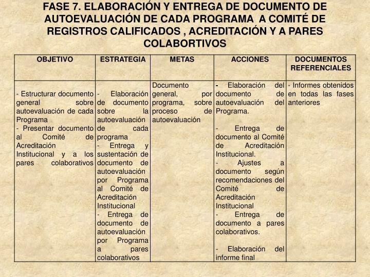 FASE 7. ELABORACIÓN Y ENTREGA DE DOCUMENTO DE AUTOEVALUACIÓN DE CADA PROGRAMA  A COMITÉ DE  REGISTROS CALIFICADOS , ACREDITACIÓN Y A PARES COLABORTIVOS