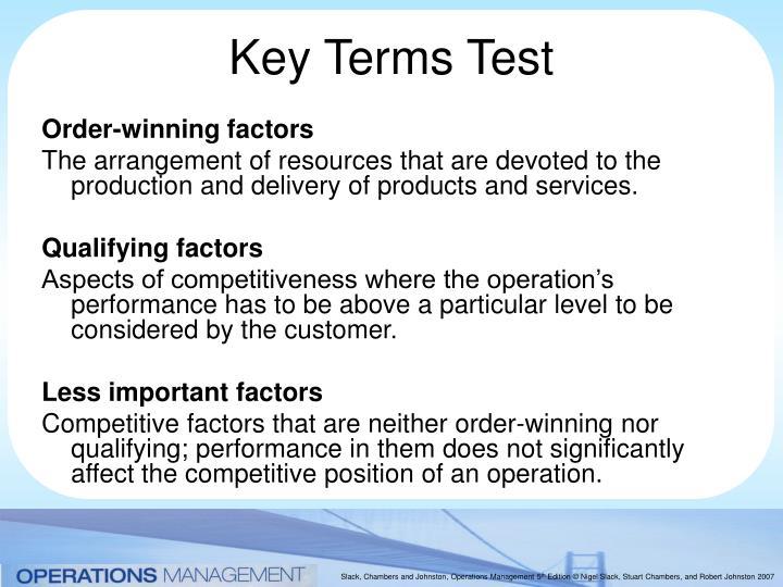 Order-winning factors