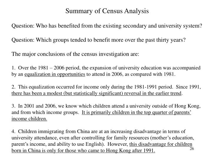Summary of Census Analysis