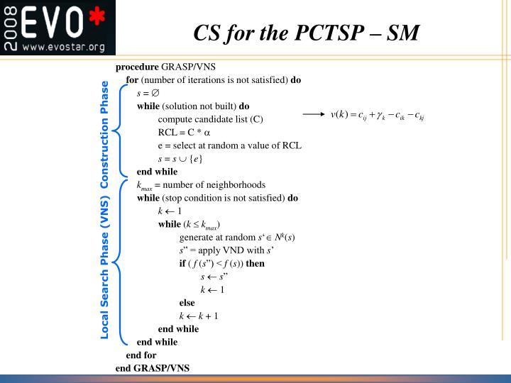 CS for the PCTSP – SM