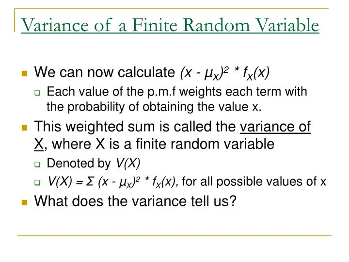 Variance of a Finite Random Variable