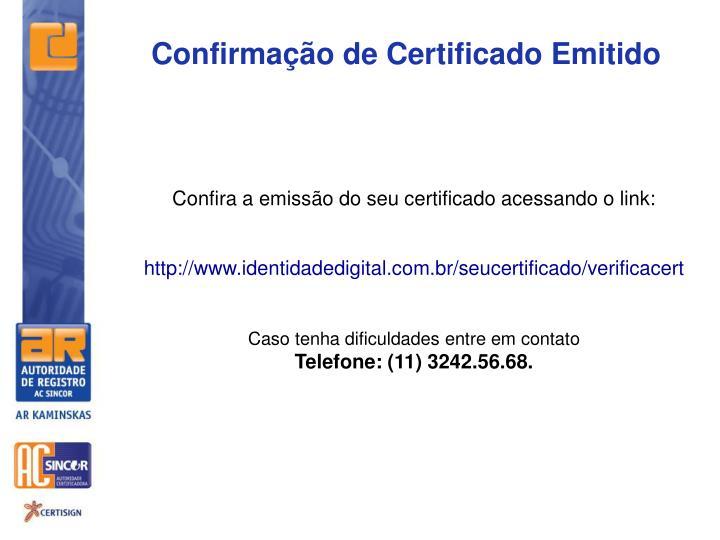 Confirmação de Certificado Emitido