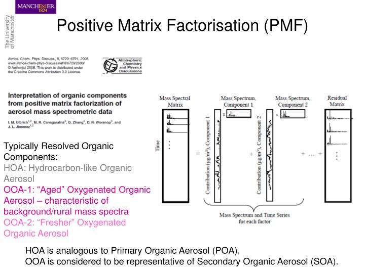 Positive Matrix Factorisation (PMF)