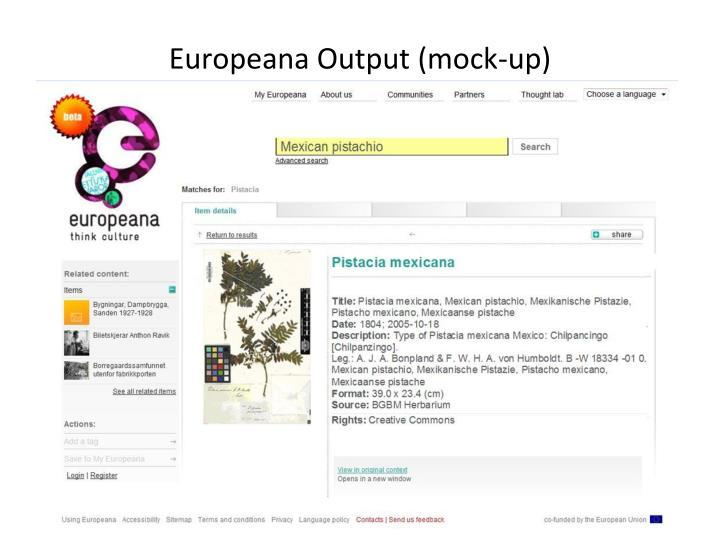 Europeana Output (mock-up)