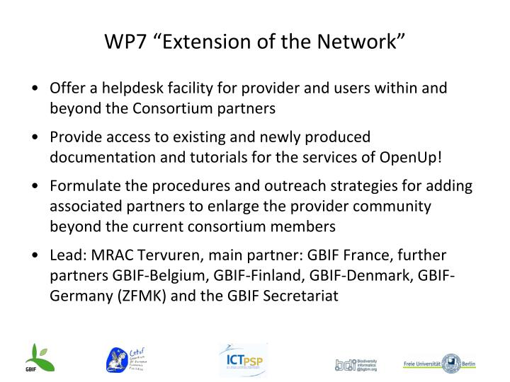 "WP7 ""Extension of the Network"""