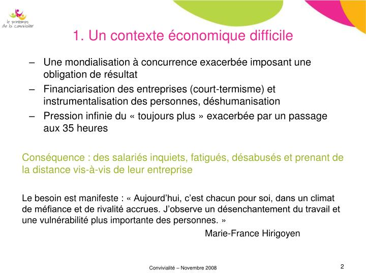 1. Un contexte économique difficile