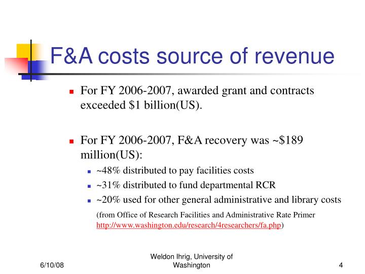 F&A costs source of revenue
