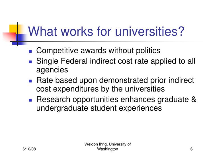 What works for universities?