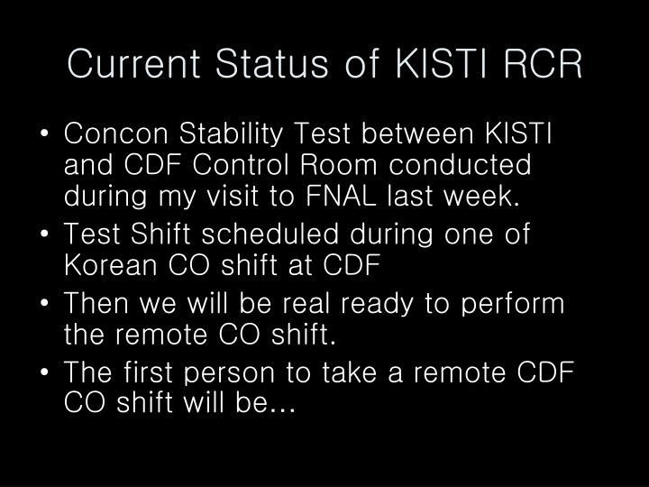 Current Status of KISTI RCR