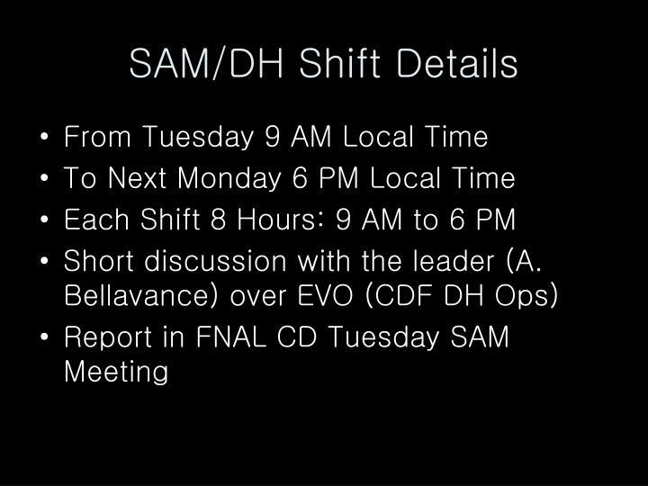 SAM/DH Shift Details