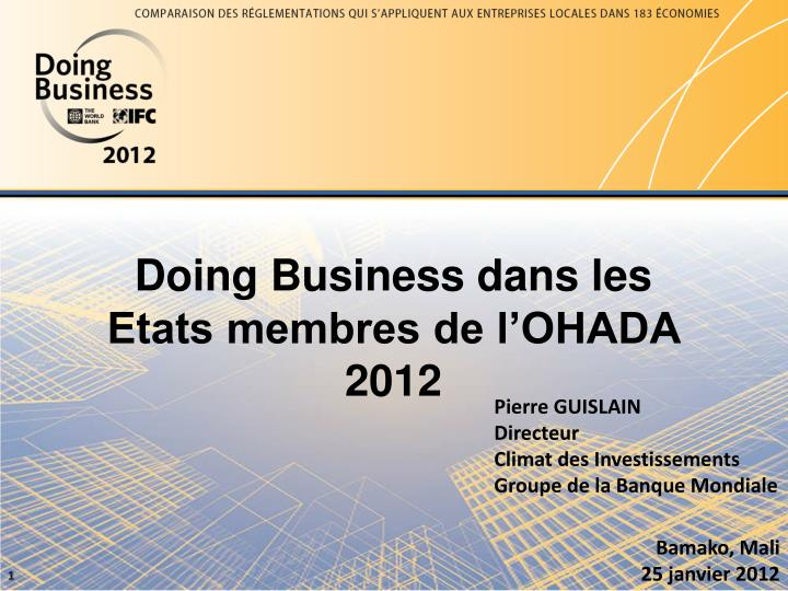 doing business dans les etats membres de l ohada 2012