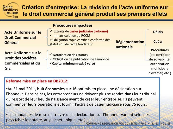 Création d'entreprise: La révision de l'acte uniforme sur le droit commercial général produit ses premiers effets