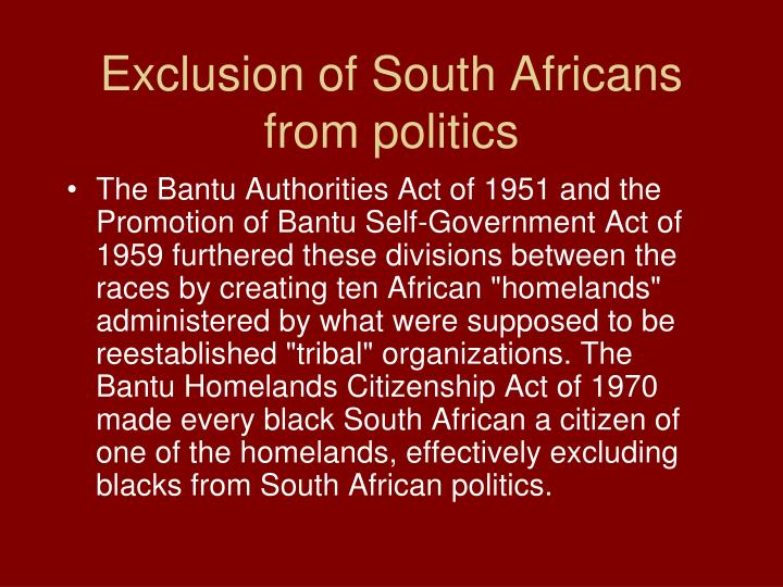 Exclusion of South Africans from politics