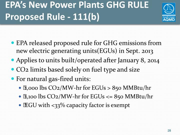 EPA's New Power Plants GHG RULE