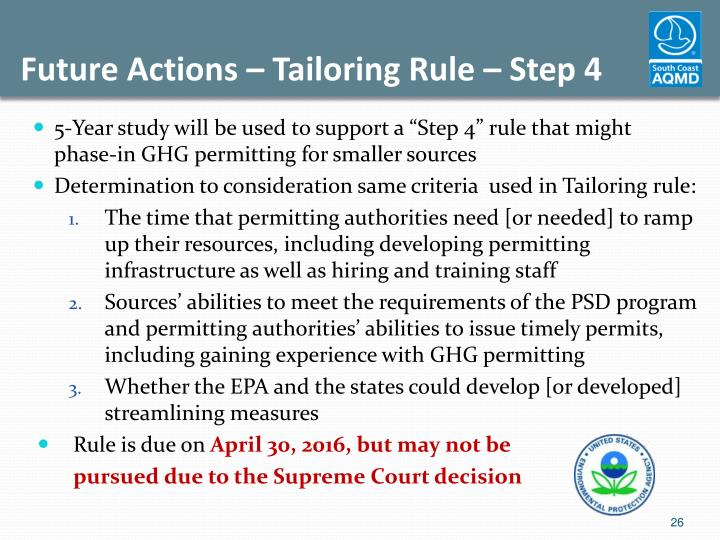 Future Actions – Tailoring Rule – Step 4