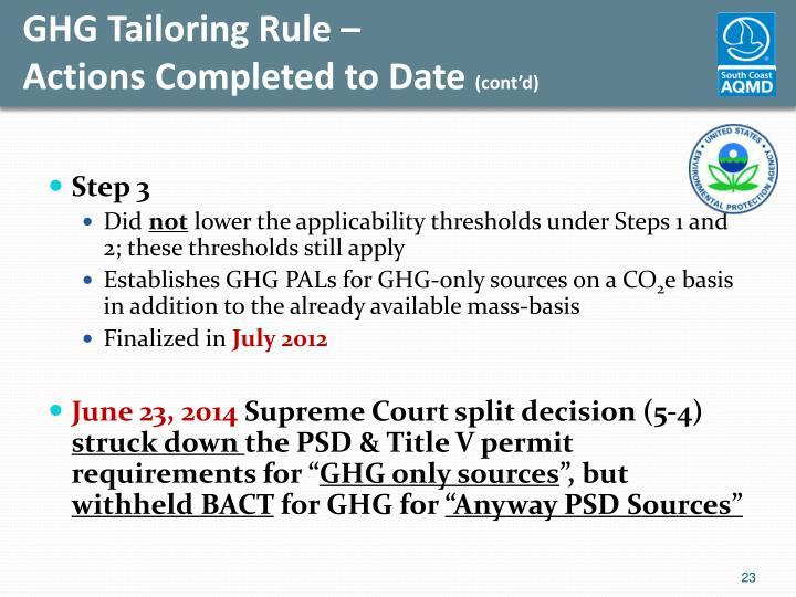 GHG Tailoring Rule –