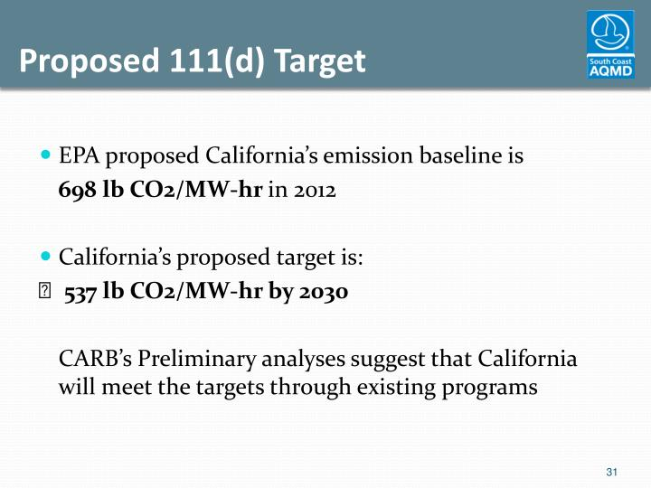 Proposed 111(d) Target