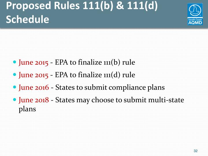 Proposed Rules 111(b) & 111(d) Schedule