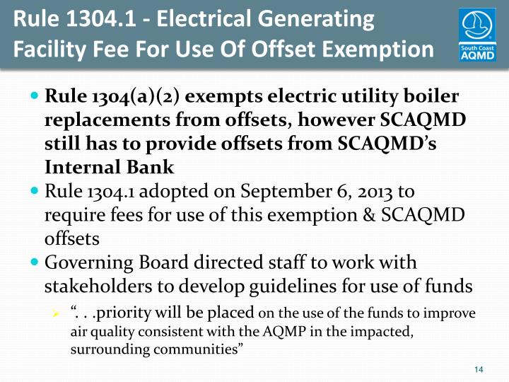 Rule 1304.1 - Electrical Generating
