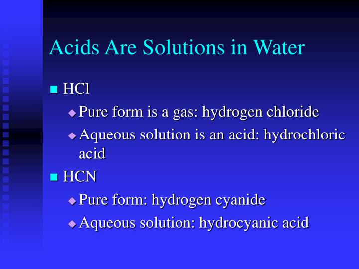 Acids Are Solutions in Water