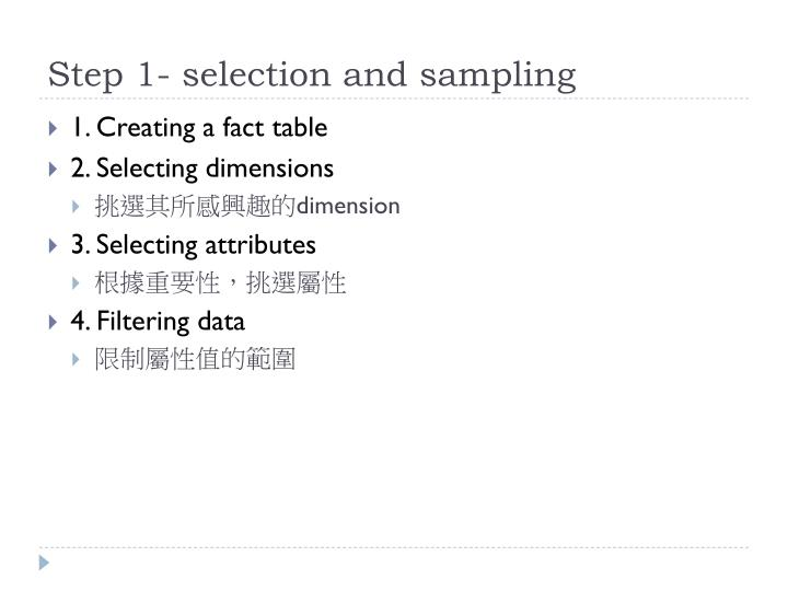 Step 1- selection and sampling