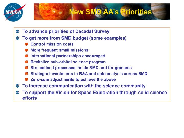 New smd aa s priorities
