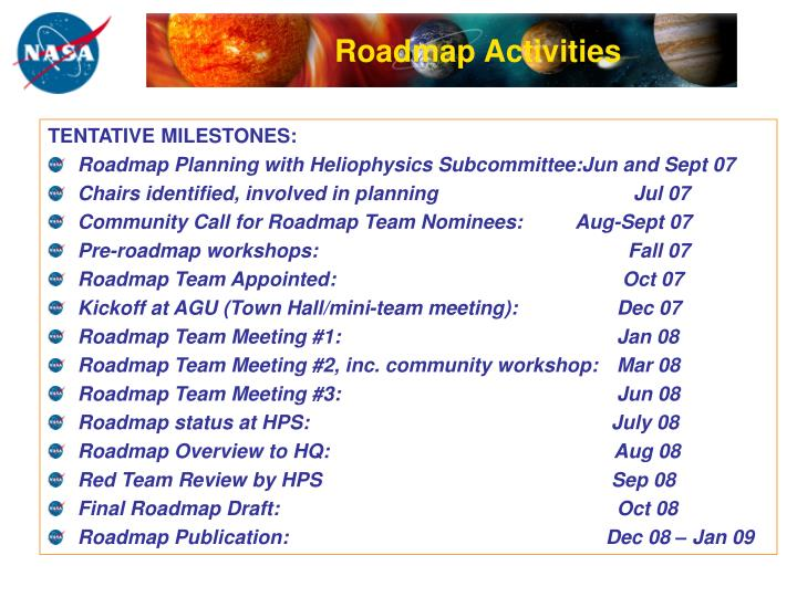 Roadmap Activities