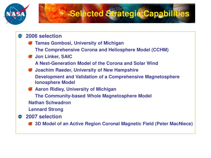 Selected Strategic Capabilities