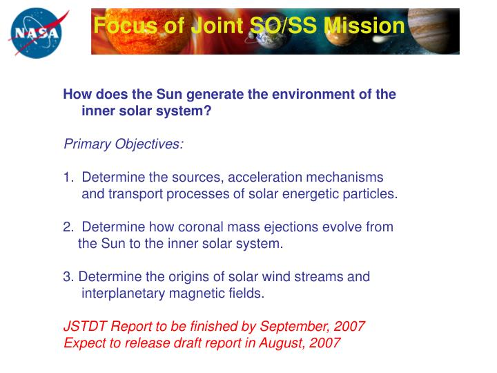 Focus of Joint SO/SS Mission
