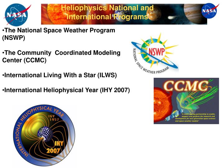 Heliophysics National and International Programs