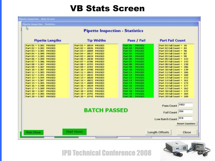 VB Stats Screen