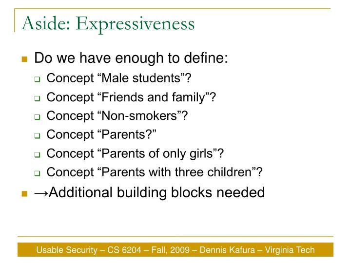 Aside: Expressiveness