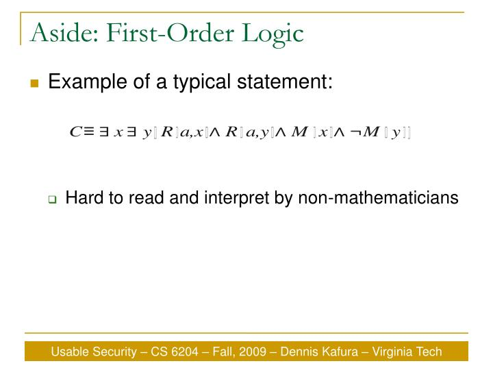 Aside: First-Order Logic