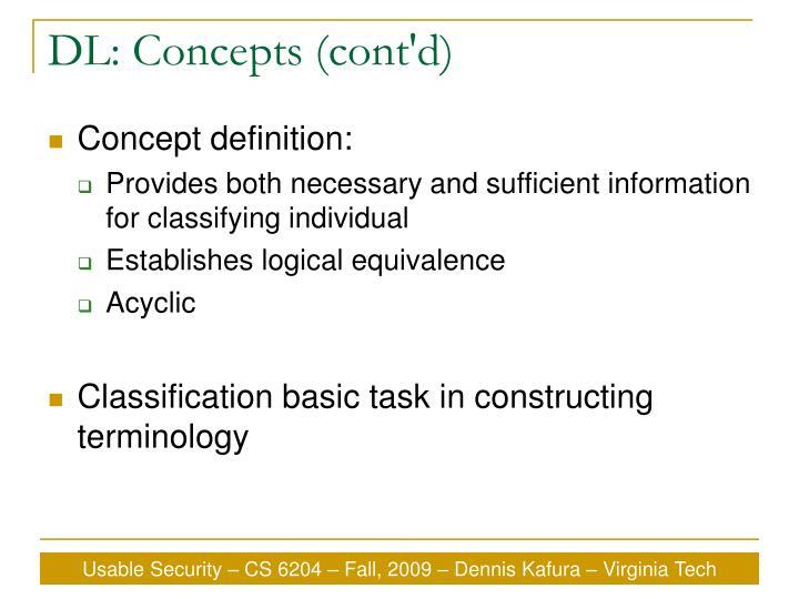 DL: Concepts (cont'd)