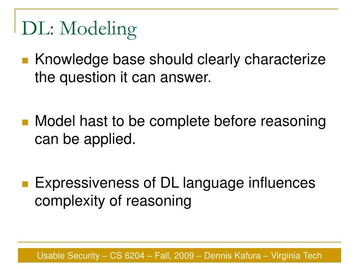 DL: Modeling