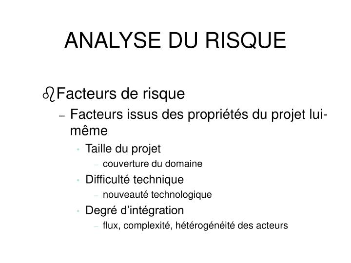 ANALYSE DU RISQUE