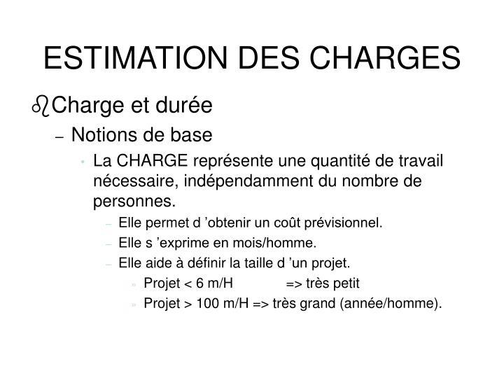 ESTIMATION DES CHARGES