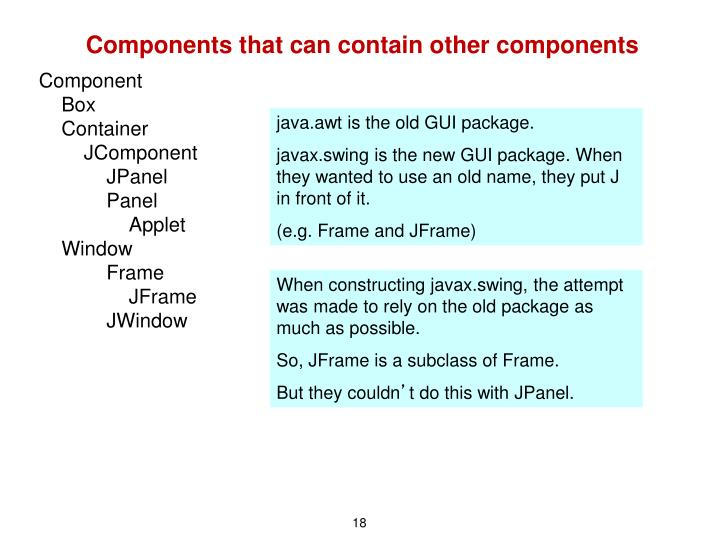 Components that can contain other components