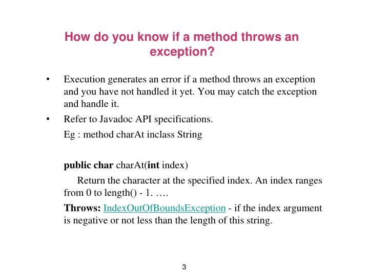 How do you know if a method throws an exception
