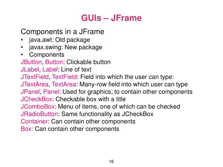 GUIs – JFrame