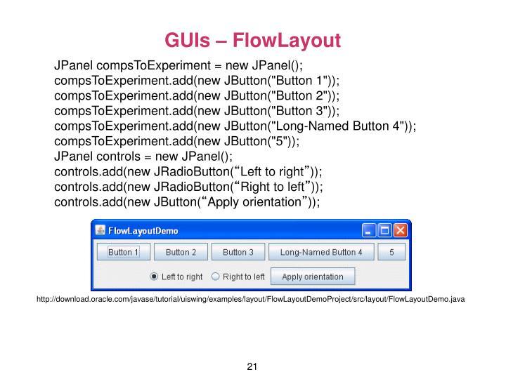 GUIs – FlowLayout