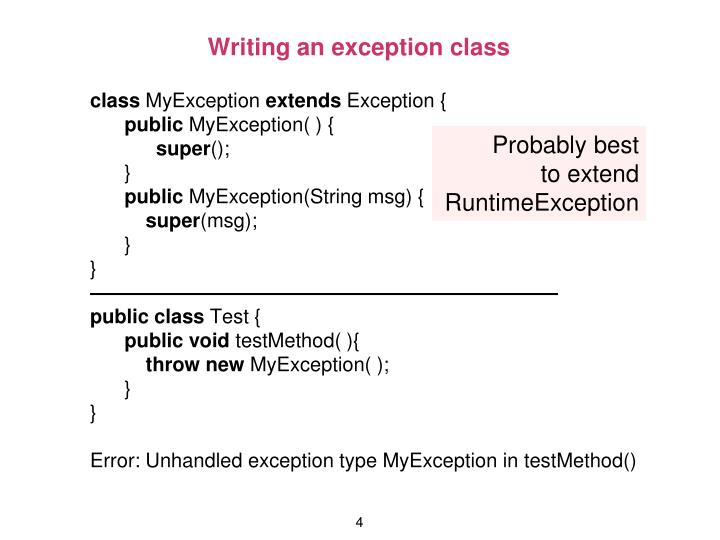 Writing an exception class