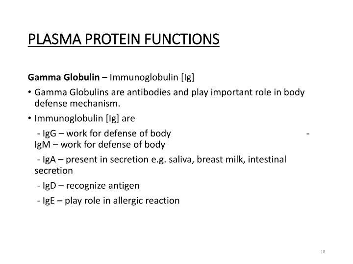 PLASMA PROTEIN FUNCTIONS