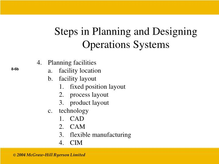 Steps in Planning and Designing Operations Systems