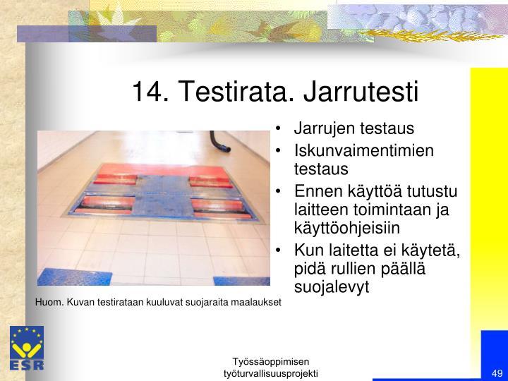14. Testirata. Jarrutesti